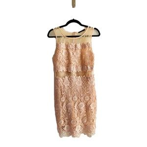 Tan crochet motif peekaboo waist, open back dress